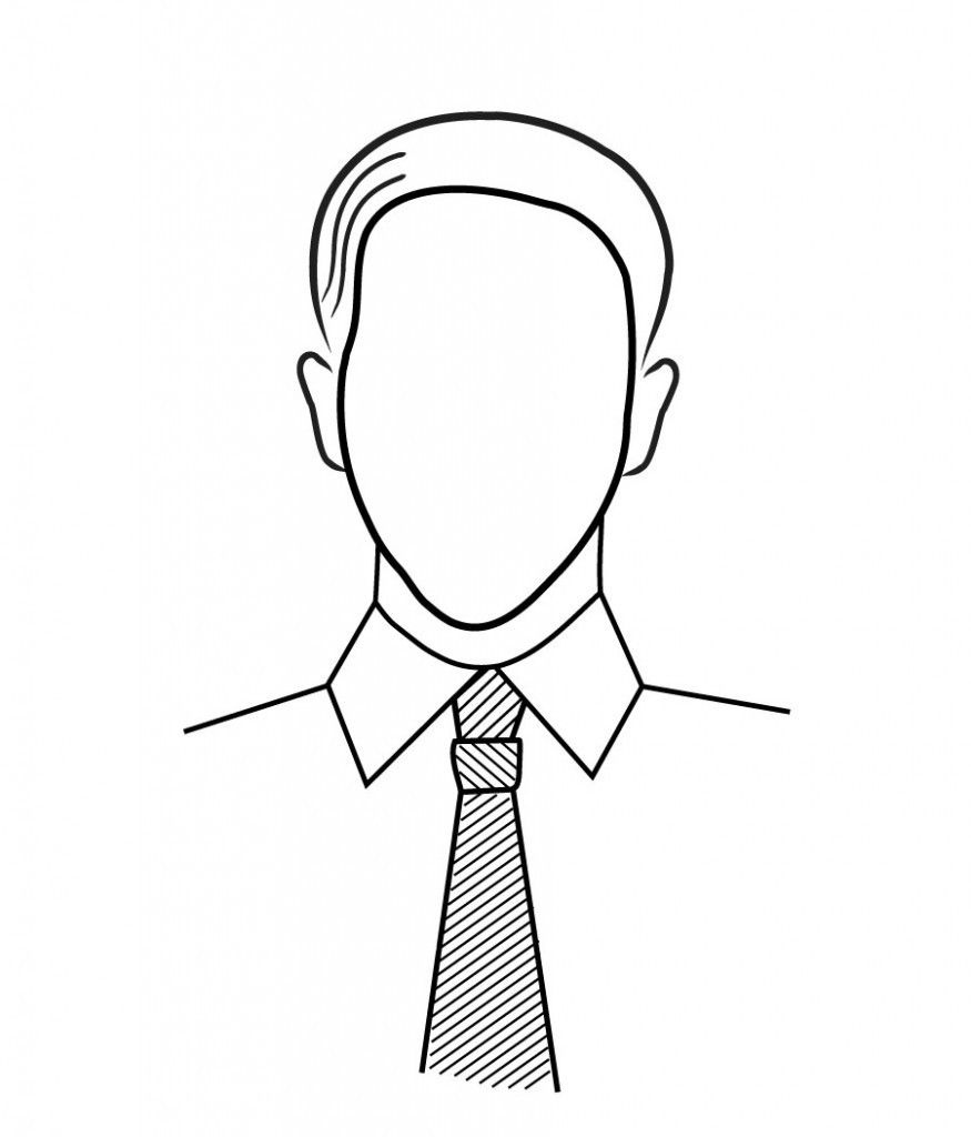 SPRÁVNĚ: Úzký obličej, široký límec.