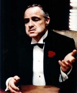 Actor Marlon Brando, shown in this undated handout picture in a scene from his 1972 film 'The Godfather,' will turn 80 years of age on Saturday, 3 April 2004. dpa