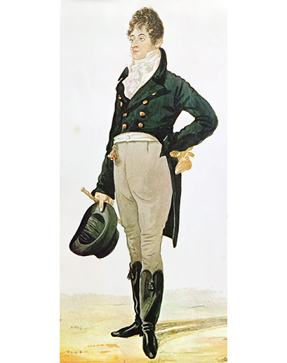 Jestli na obleku oceňujete to, že se skládá pouze ze dvou částí a dává vám tak možnost stylově se obléct bez většího přemýšlení, můžete v duchu poděkovat chlapíkovi jménem Beau Brummell. Brummell byl po roce 1800 stylovým členem britského dvora. Dá se o něm říci, že byl prvním hipsterem (bez urážky), a zcela jistě ho můžeme označit za inovátora tehdejšího vkusu – zavrhnul totiž populární fráčky a dal přednost jednoduchým sakům a kalhotám v plné délce – základ, ze kterého se později vyvinuly obleky, jak je známe dnes. Traduje se, že díky svým přátelským vztahům s princem (později králem Jiřím IV.) měl velký vliv na tehdejší společenskou smetánku, ačkoliv sám nebyl bohatým šlechticem. Jak je vidět, pro vytříbený vkus není třeba vlastnit spoustu peněz (nicméně musíme přidat také fakt, že Brummell později z Anglie utekl před hromadou nesplacených dluhů)…
