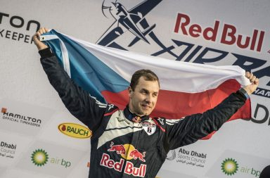 Martin Sonka of the Czech Republic celebrates during the Award Ceremony at the first stage of the Red Bull Air Race World Championship in Abu Dhabi, United Arab Emirates on February 11, 2017.