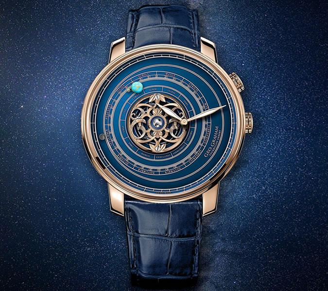 Graham Geo Orrey Tourbillon - doslova umělecké dílo na zápěstí. Design napodobuje pohyb sluneční soustavy a část hodinek je dokonce vyrobena ze spadlého meteoritu. Doesn't get much better than that.