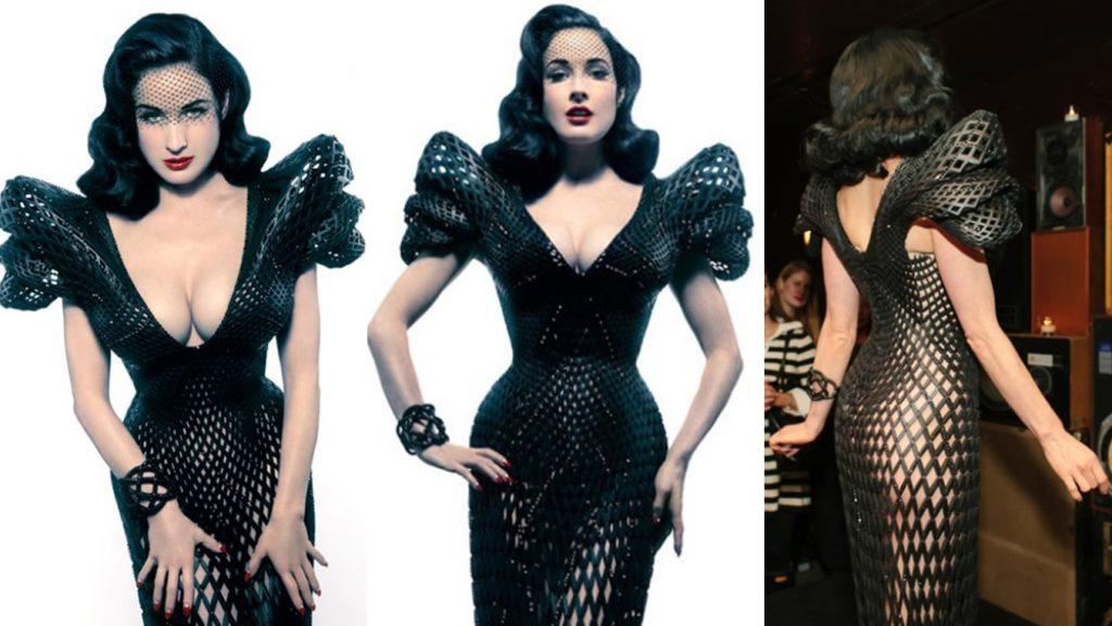 Burlesque diva Dita Von Teese v ikonických 3D tištěných šatech s krystaly Swarowski.