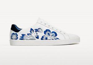 Vyšívané bílé sneakers, Zara