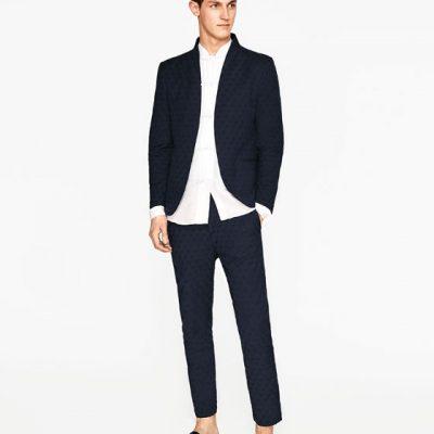 Žakárový oblek bez klop, Zara