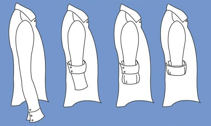 """Takzvaný """"italský způsob"""" ohrnování košile. Přehnete dvakrát a lem manžety  zůstane viditelný. fd045384b2"""