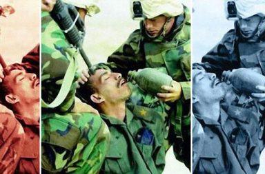 """Američtí mariňáci """"pomáhají"""" iráckému vojákovi a dávají mu napít vody."""