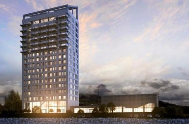 18ti patrová budova byla postavena tak, aby byla co nejšetrnější k životnímu prostředí.