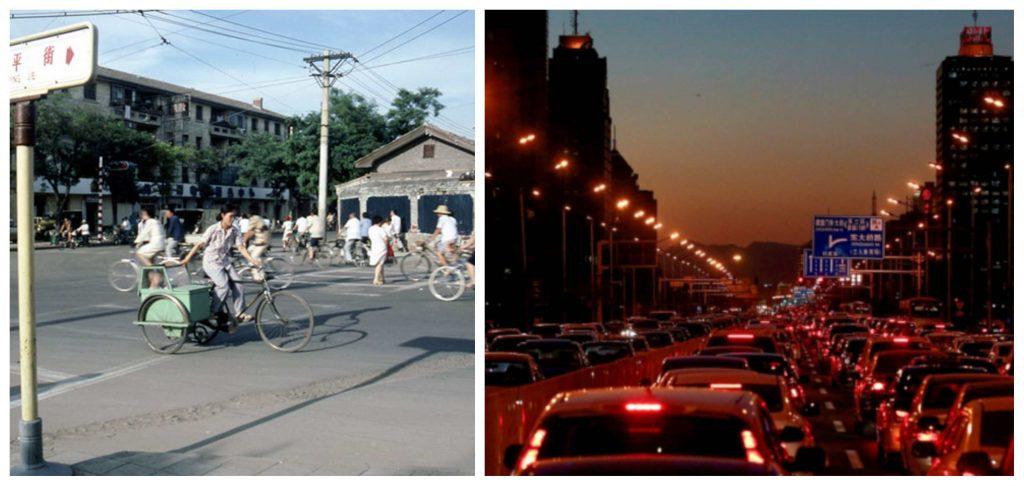 Vlevo záběr Pekingu v roce 1980. Vpravo v roce 2019.