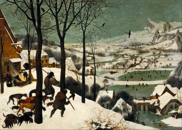 """Jeden z nejslavnějších obrazů znázorňujících první okamžiky začátku tehdejší """"malé doby ledové"""". Pieter Breughel: Lovci ve sněhu (1565)"""