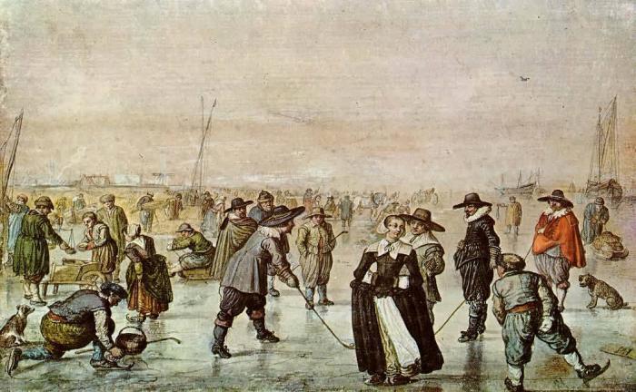 """Obraz """"Zábava na ledě"""" od holandského malíře Hendricka Avercampa (1585 – 1634), který se – snad i následkem tehdejší """"malé doby ledové"""" – specializoval právě na zimní výjevy, tak neobvyklé pro jeho generační předchůdce."""