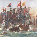 """Slavná """"Revenge"""" a její ještě slavnější poslední bitva u Azorů - The_Last_fight_of_the_Revenge_off_Flores_in_the_Azores_1591_by_Charles_Dixon"""