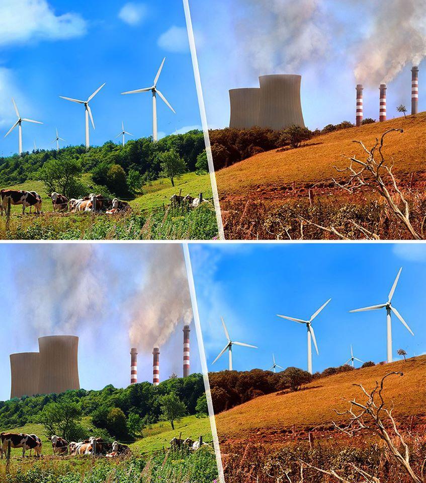Velmi důležitý je také obrazový kontext, jímž zpávu o největších znečišťovatelých doprovodíte. Nahoře fotka k článku o největším zlu současnosti jménem fosilní energie, dole fotka vytvořená za požití fotky nahoře, přičemž v obou případech se nejedná o realitu, nýbrž výsledek práce ve fotošopu