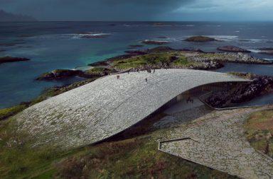 The Whale svým designem připomíná masivní skalní výběžek, který vyrůstá přímo ze zemského povrchu.
