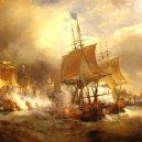 Vyplula roku 1765, přežila bitvu u Trafalgaru a činí se dodnes. HMS Victory je nejstarší lodí v aktivní službě - 1024px-Combat_d'Ouessant_juillet_1778_par_Theodore_Gudin