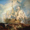 Vyplula roku 1765, přežila bitvu u Trafalgaru a činí se dodnes. HMS Victory je nejstarší lodí v aktivní službě - 1024px-Turner,_The_Battle_of_Trafalgar_(1822)