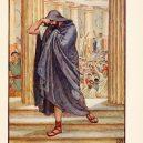 Démosthenés byl odhodlán stát se proslulým řečníkem. Pro svůj cíl si vybral zvláštní metody - He_lefts_assembly,_hiding_his_face_in_his_cloak